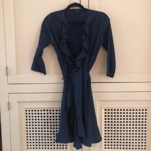 Vero Moda XS Wrap Dress Navy Blue 3/4 Long Sleeves